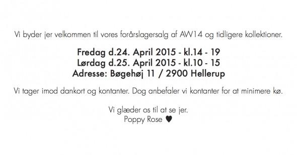 Poppy Rose lagersalg med børnetøj sommer og april 2015