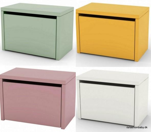 Vind en ny opbevaringsbænk til børneværelset fra Flexa Play i gul, mintgrøn, hvid eller rosa.