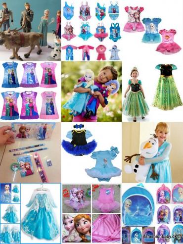 Ting til under 100 kr fra Frost filmen. Bamser, dukker, kostume, kjoler, skoletaske, olaf, elsa, anna, frost, frozen.