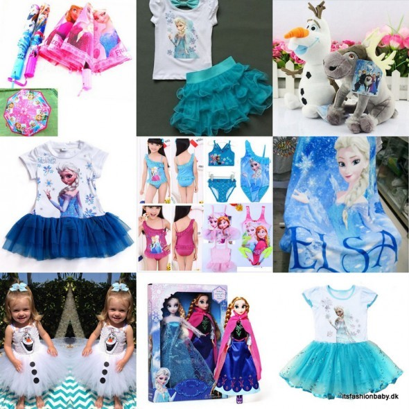 Billige gaver til under 100 kr fra Disney Frost - Frozen med Anne, Elsa, Olaf som fx badetøj, kjoler, bamser, paraplyer, figurer osv.