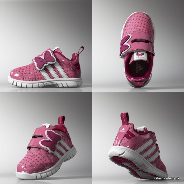Lyserøde sneakers fra Adidas i samarbejde med Disney med Minnie Mouse