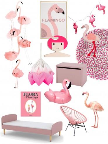 Indretning af børneværelse og værelse til piger med lyserød og flamingo som tema