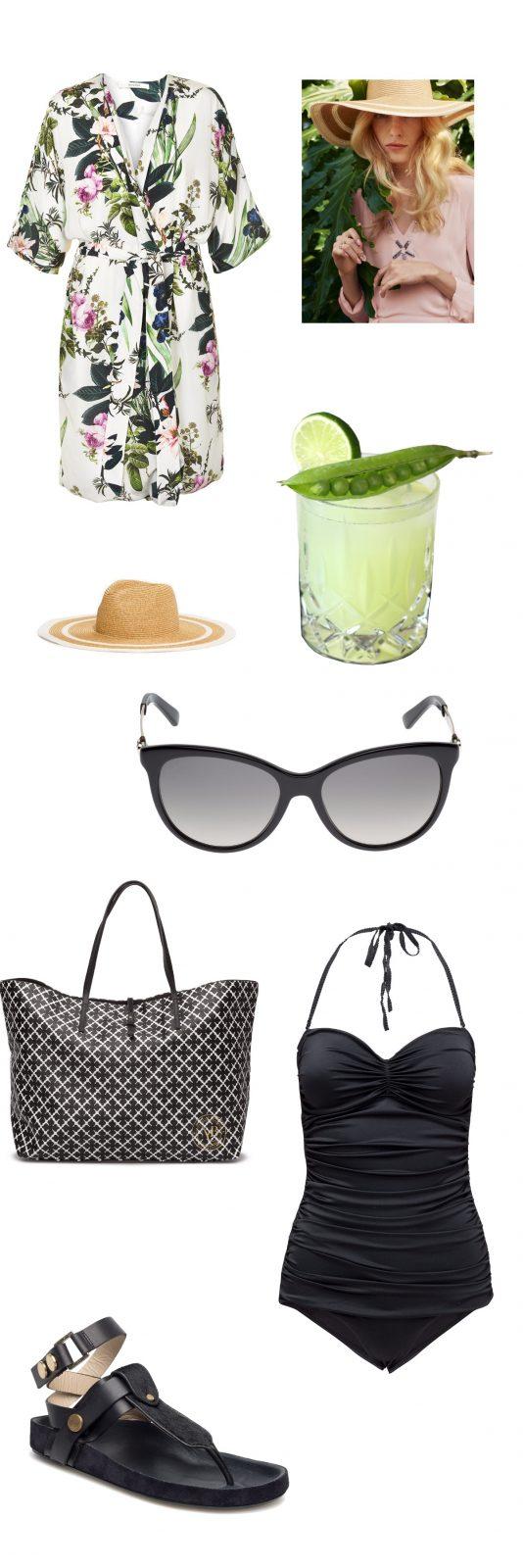 Tøj til ferien - badedragt, solbriller, sandaler fra by malene birger, gucci solbriller, cocktail, stråhat, kimono fra Gestuz