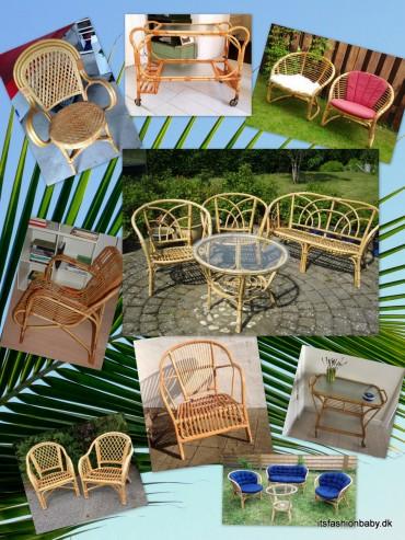 Fine gamle retro bambusmøbler som er fine havemøbler til terrassen