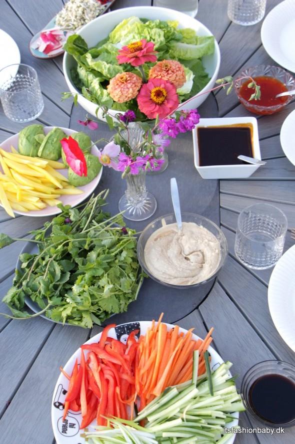 Fyld til friske forårsruller - grøntsager sauce kød sauce og dip