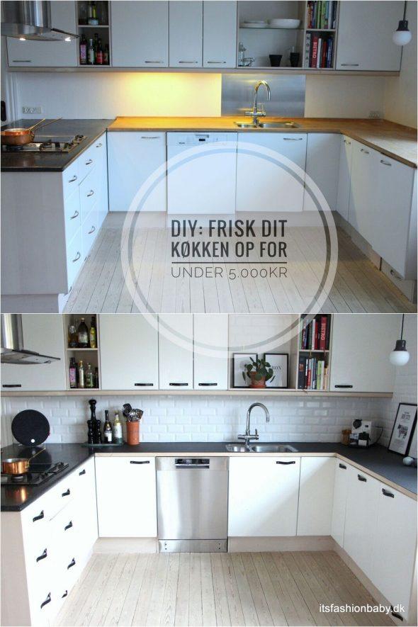 DIY guide: frisk dit køkken op for under 5.000 kr med nye metrofliser, lædergreb på dine køkkenskabe og beklæd din bordplade med linoleum